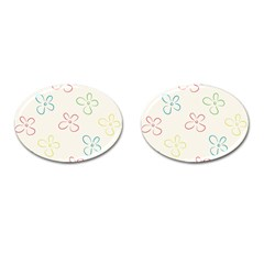 Flower Background Nature Floral Cufflinks (Oval)