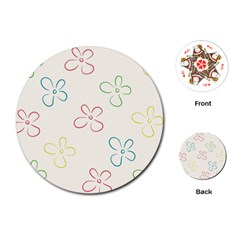 Flower Background Nature Floral Playing Cards (round)