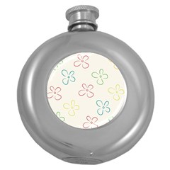 Flower Background Nature Floral Round Hip Flask (5 oz)