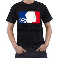 Symbol of the French Government Men s T-Shirt (Black) (Two Sided)