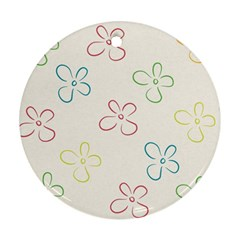 Flower Background Nature Floral Round Ornament (two Sides)