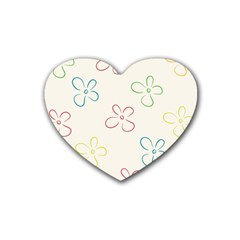 Flower Background Nature Floral Rubber Coaster (Heart)