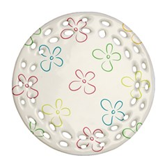 Flower Background Nature Floral Round Filigree Ornament (two Sides)