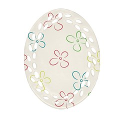 Flower Background Nature Floral Oval Filigree Ornament (Two Sides)