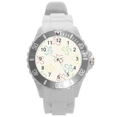 Flower Background Nature Floral Round Plastic Sport Watch (L)