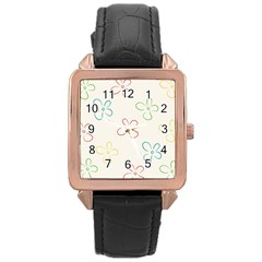 Flower Background Nature Floral Rose Gold Leather Watch