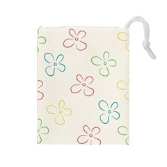 Flower Background Nature Floral Drawstring Pouches (Large)