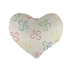 Flower Background Nature Floral Standard 16  Premium Flano Heart Shape Cushions