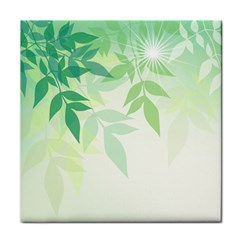 Spring Leaves Nature Light Tile Coasters