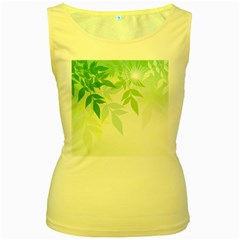 Spring Leaves Nature Light Women s Yellow Tank Top