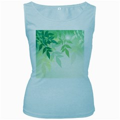 Spring Leaves Nature Light Women s Baby Blue Tank Top