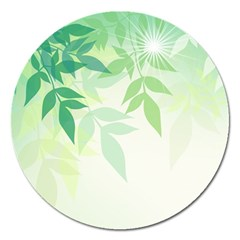 Spring Leaves Nature Light Magnet 5  (round)