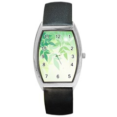Spring Leaves Nature Light Barrel Style Metal Watch