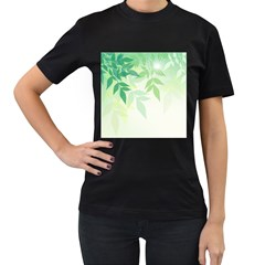 Spring Leaves Nature Light Women s T-Shirt (Black) (Two Sided)