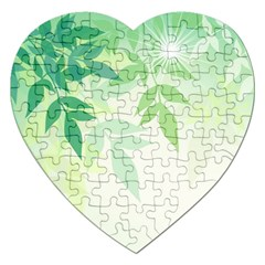 Spring Leaves Nature Light Jigsaw Puzzle (Heart)