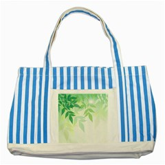 Spring Leaves Nature Light Striped Blue Tote Bag