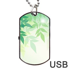 Spring Leaves Nature Light Dog Tag Usb Flash (one Side)