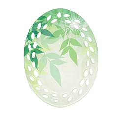 Spring Leaves Nature Light Oval Filigree Ornament (Two Sides)