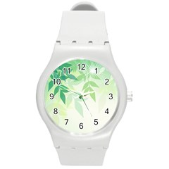 Spring Leaves Nature Light Round Plastic Sport Watch (m)