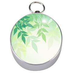 Spring Leaves Nature Light Silver Compasses