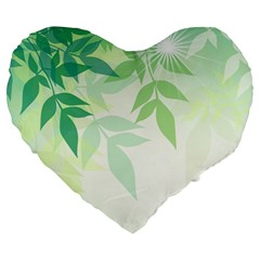 Spring Leaves Nature Light Large 19  Premium Flano Heart Shape Cushions