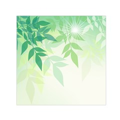 Spring Leaves Nature Light Small Satin Scarf (Square)