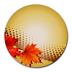 Background Leaves Dry Leaf Nature Round Mousepads