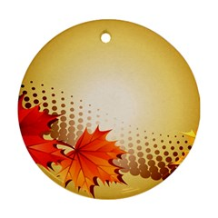 Background Leaves Dry Leaf Nature Ornament (Round)