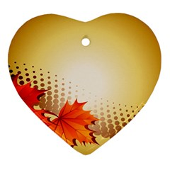 Background Leaves Dry Leaf Nature Ornament (Heart)