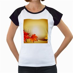 Background Leaves Dry Leaf Nature Women s Cap Sleeve T