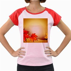 Background Leaves Dry Leaf Nature Women s Cap Sleeve T-Shirt