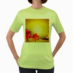 Background Leaves Dry Leaf Nature Women s Green T-Shirt