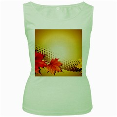 Background Leaves Dry Leaf Nature Women s Green Tank Top