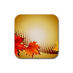Background Leaves Dry Leaf Nature Rubber Square Coaster (4 pack)