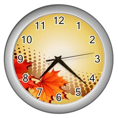 Background Leaves Dry Leaf Nature Wall Clocks (silver)