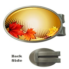 Background Leaves Dry Leaf Nature Money Clips (Oval)
