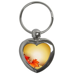 Background Leaves Dry Leaf Nature Key Chains (Heart)