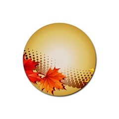 Background Leaves Dry Leaf Nature Rubber Coaster (round)