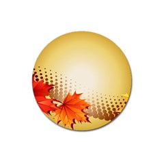 Background Leaves Dry Leaf Nature Magnet 3  (Round)
