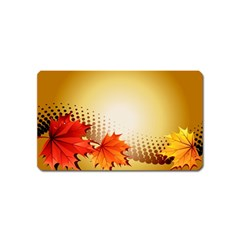 Background Leaves Dry Leaf Nature Magnet (Name Card)
