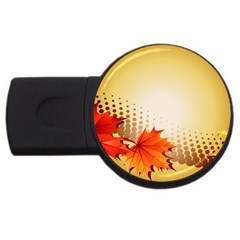 Background Leaves Dry Leaf Nature USB Flash Drive Round (1 GB)