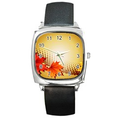 Background Leaves Dry Leaf Nature Square Metal Watch