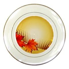 Background Leaves Dry Leaf Nature Porcelain Plates