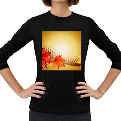 Background Leaves Dry Leaf Nature Women s Long Sleeve Dark T-Shirts