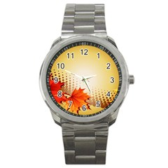 Background Leaves Dry Leaf Nature Sport Metal Watch