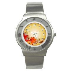 Background Leaves Dry Leaf Nature Stainless Steel Watch