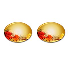 Background Leaves Dry Leaf Nature Cufflinks (Oval)