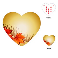 Background Leaves Dry Leaf Nature Playing Cards (heart)