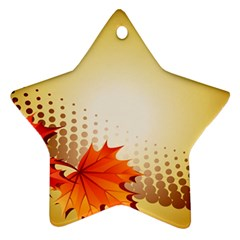 Background Leaves Dry Leaf Nature Star Ornament (Two Sides)