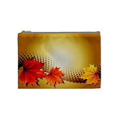 Background Leaves Dry Leaf Nature Cosmetic Bag (medium)